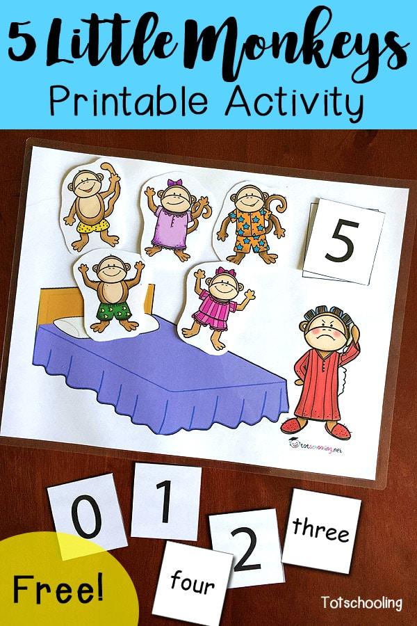 FREE Five Little Monkeys Activity