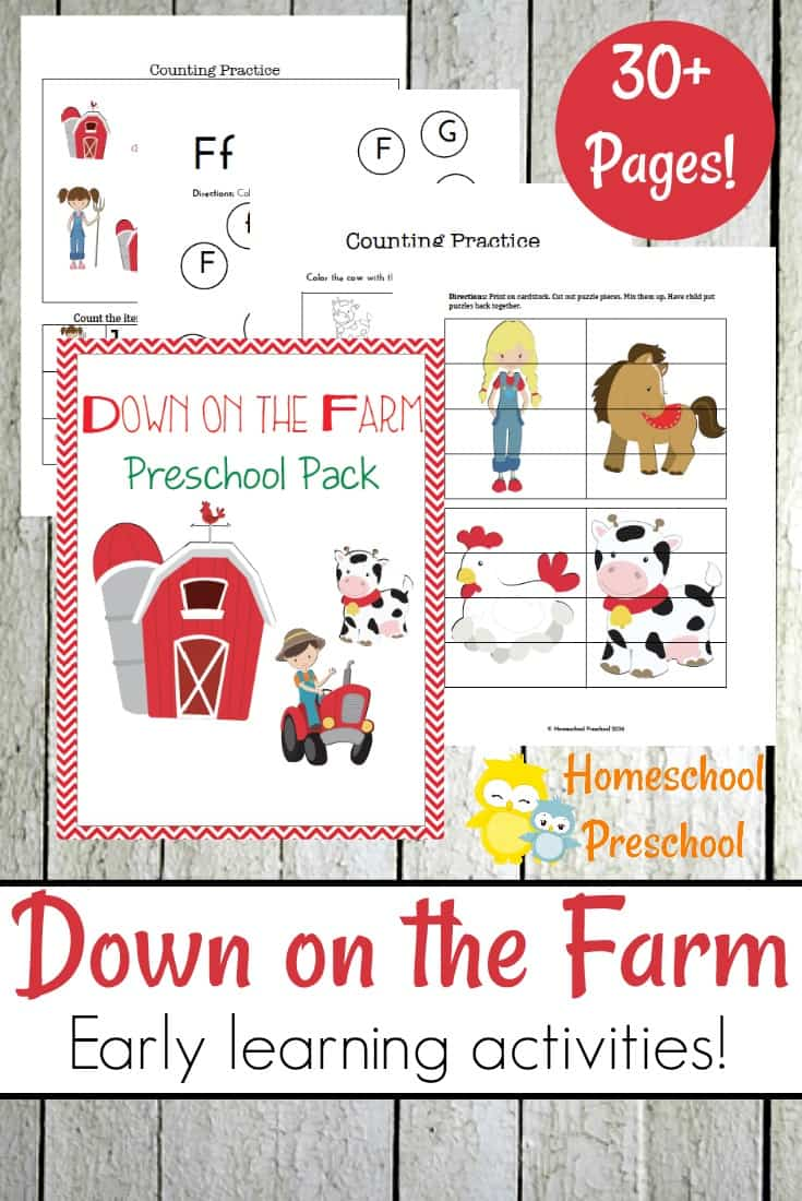 Free Down on the Farm Preschool Pack (30+ Pages)