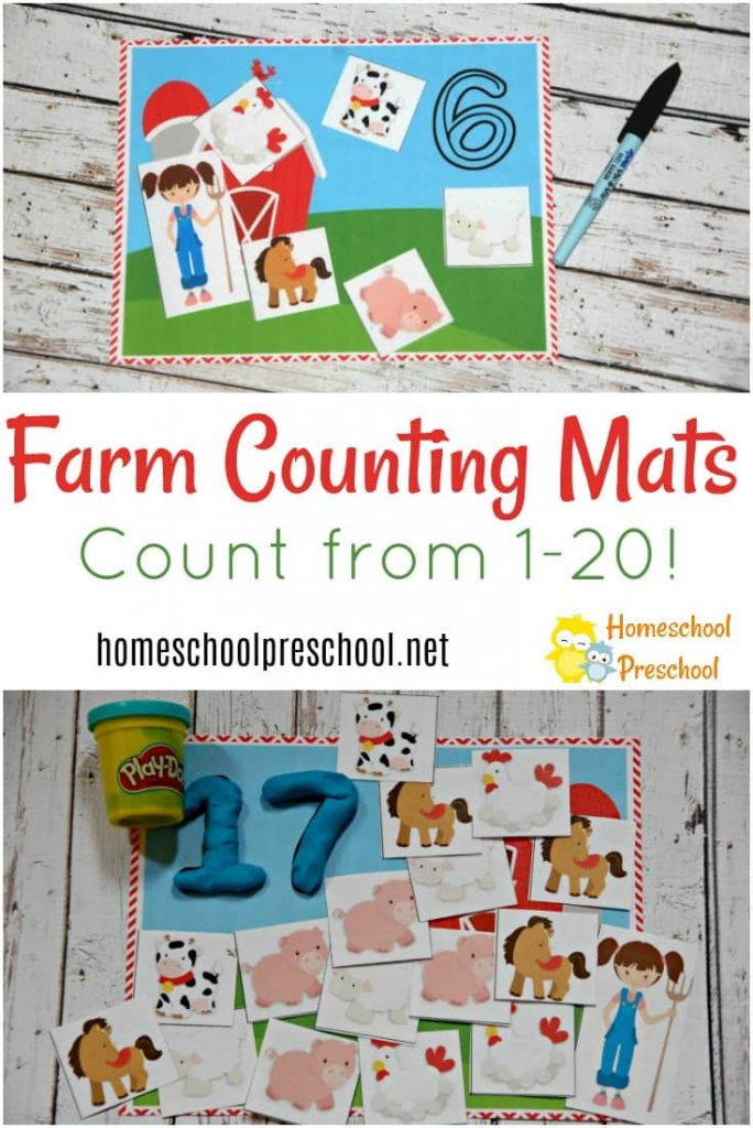 Free Farm Preschool Counting Mats