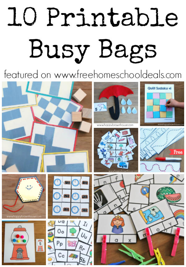 10 Free Printable Busy Bags