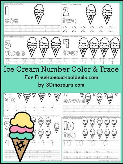 FREE ICE CREAM NUMBER COLOR & TRACE (Instant Download)