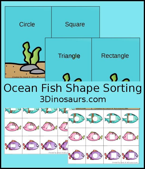 Free Ocean Fish Shape Sorting Printables