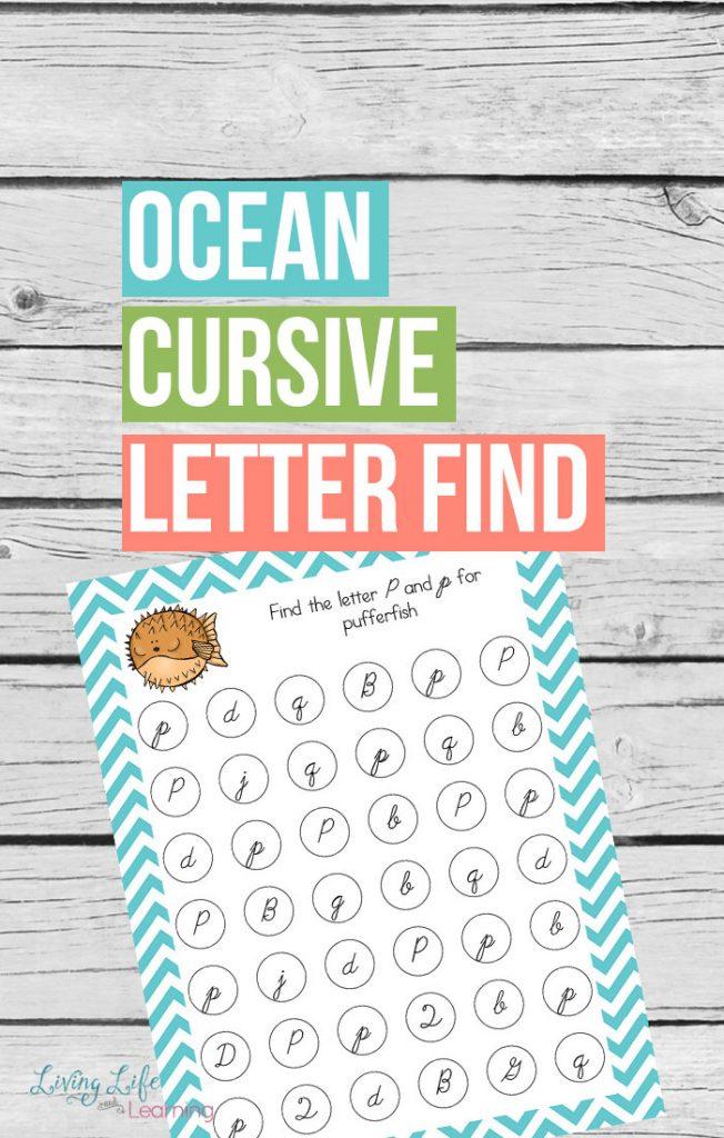 FREE Ocean Cursive Find Letter Find Printables
