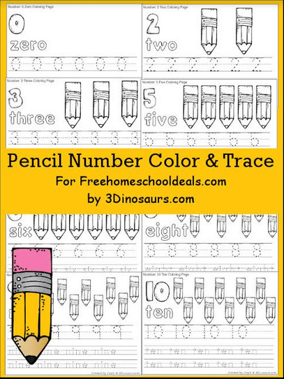 Free Pencil Number Color & Trace Printables