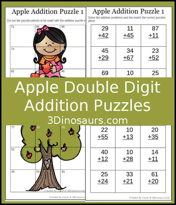 Free Apple Themed Double Digit Addition Puzzles