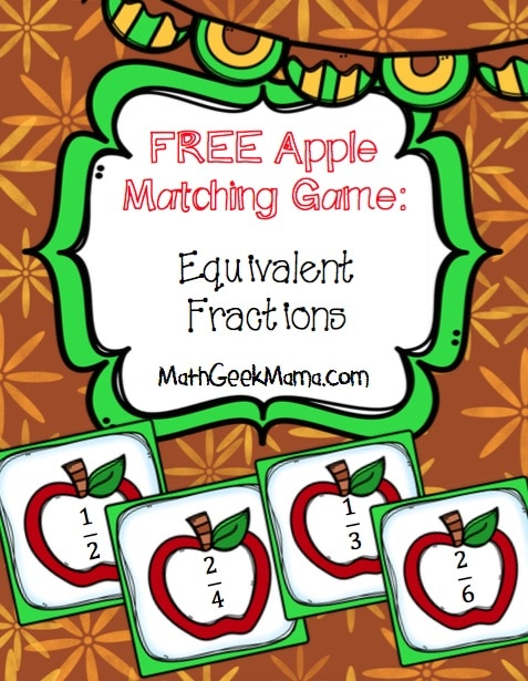 Free Apple Fraction Matching Game
