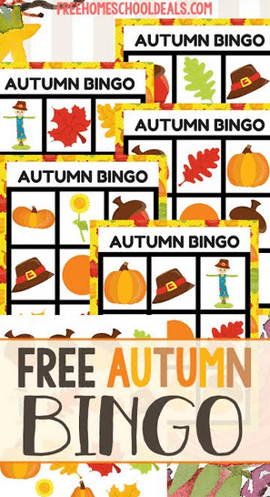 You will love this FREE Autumn Bingo Game! #fhdhomeschoolers #freehomeschooldeals #autumnresources #homeschoolgames #hsfreebies