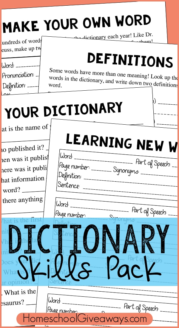 Free Dictionary Skills Pack