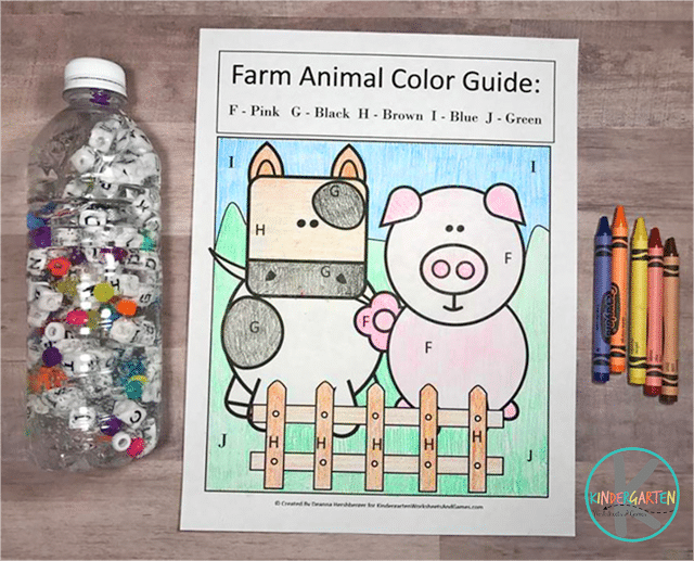 Free Farm Animal Color by Letter Printables