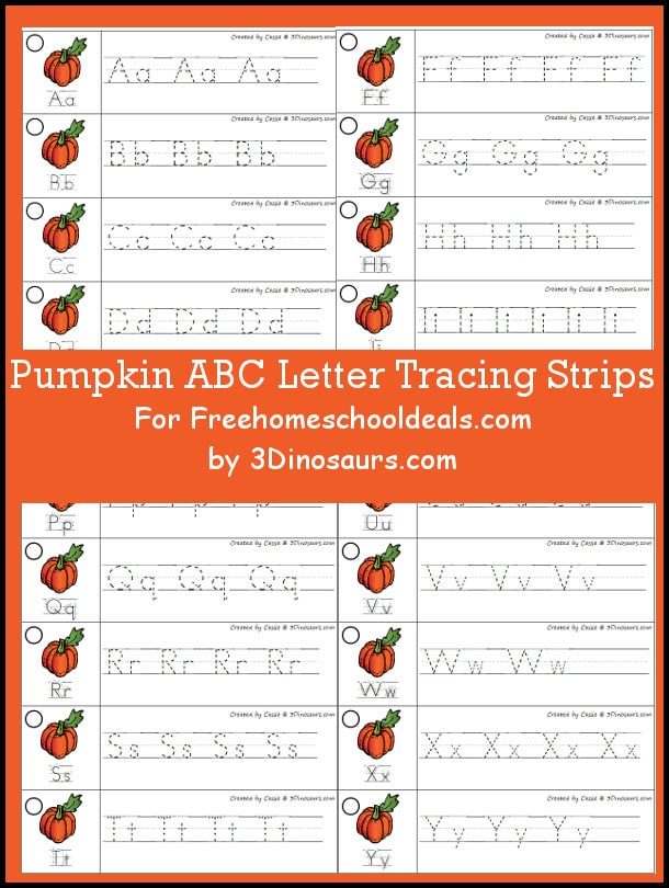 FREE PUMPKIN ABC TRACING STRIPS (Instant Download)