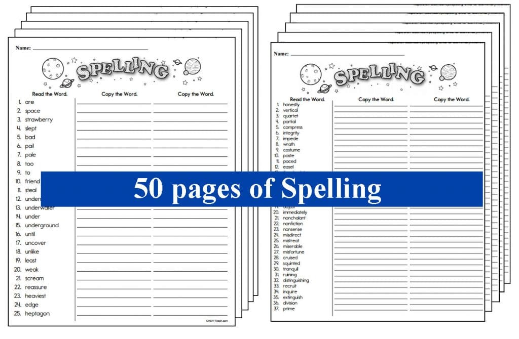 Free Spelling Printables