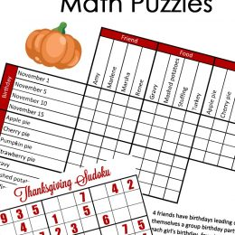 Free Thanksgiving Math & Logic Puzzles