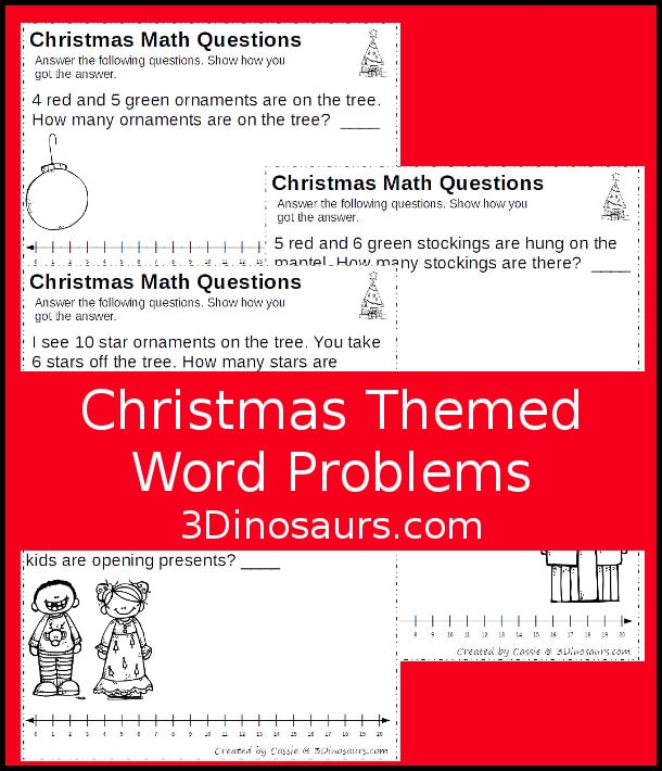Free Christmas Word Problem Math Worksheets