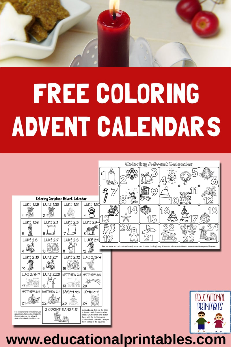Free Advent Coloring Calendars