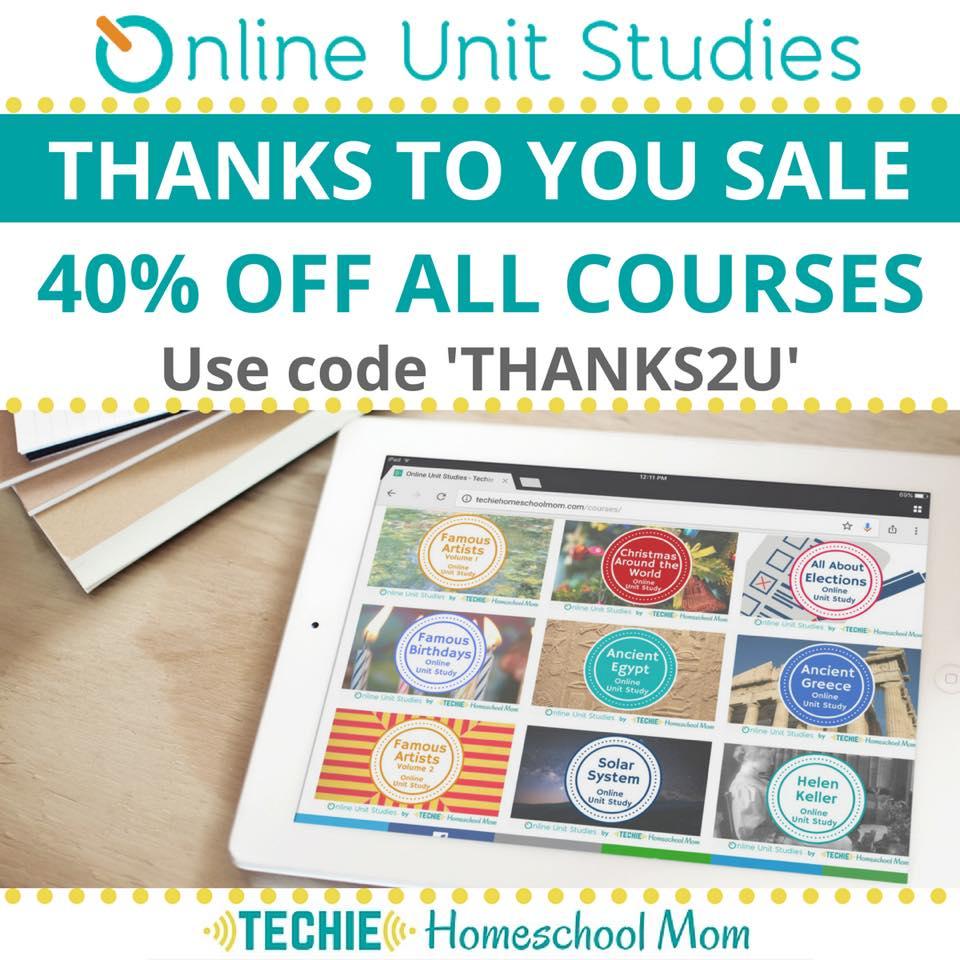 40% Off Online Unit Studies