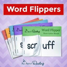 sample word flipper cards from All About Reading