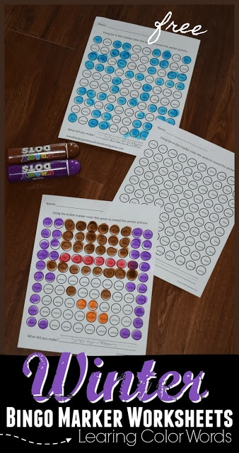 Free Winter Do-a-Dot Color Words Worksheets