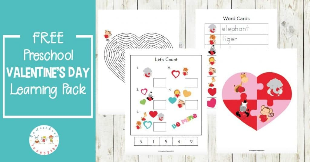 Free Valentine's Day Preschool Learning Pack