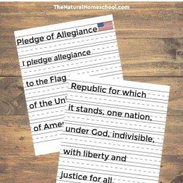 Free Pledge of Allegiance Manuscript Copywork Pages