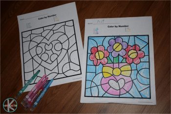 Free Valentine's Day Color by Number Worksheets