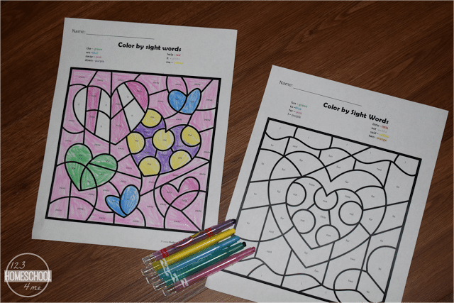 Free Valentine's Day Color by Sight Word Worksheets