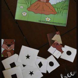 Free Groundhog Shape Puzzles