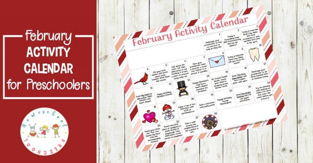 Free Preschool Activity Calendar