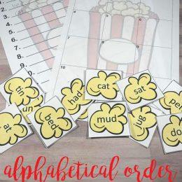 Free Popcorn Alphabetical Order Worksheets