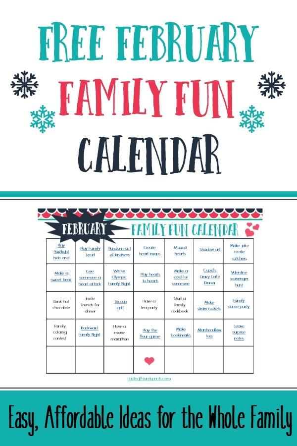 Free February Family Fun Calendar