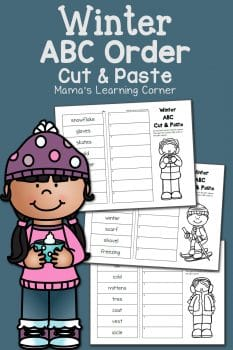 FREE Winter-Themed Cut and Paste ABC Order Worksheets