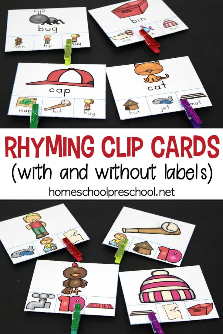 Free Rhyming Clip Cards