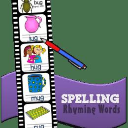 Free Rhyming Words Spelling Strips