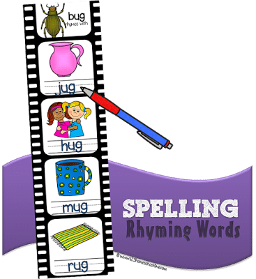 Free Rhyming Words Spelling Strips