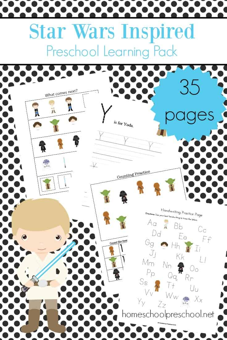 Free Star Wars Preschool Learning Pack