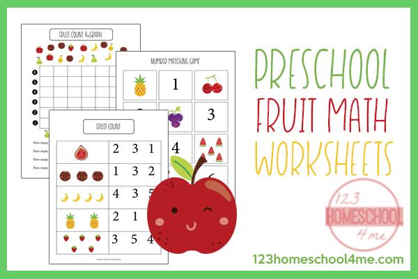 Free Fruit Preschool Math Worksheets
