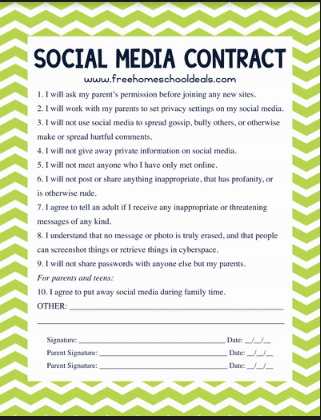 FREE TEEN SOCIAL MEDIA CONTRACT (Instant Download)