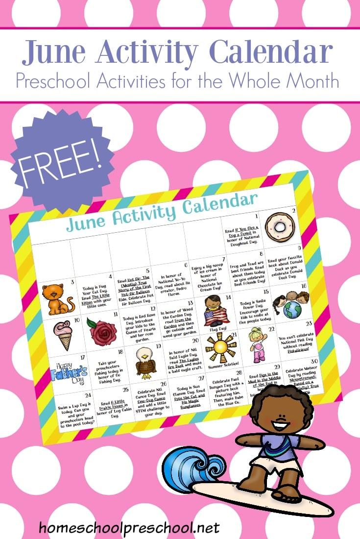 Free June Activity Calendar for Preschoolers
