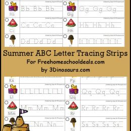 FREE SUMMER ABC LETTER TRACING STRIPS (Instant Download)