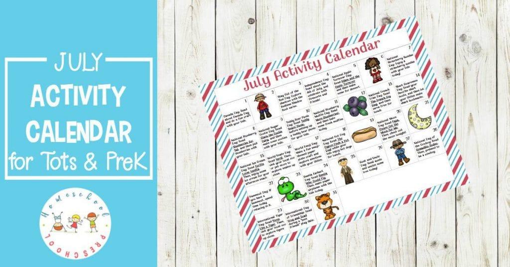 Free July Preschool Activity Calendar
