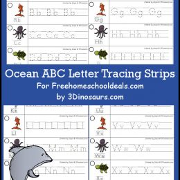 FREE OCEAN ALPHABET TRACING STRIPS (Instant Download)