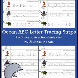 FREE OCEAN ALPHABET TRACING STRIPS (Instant Download)