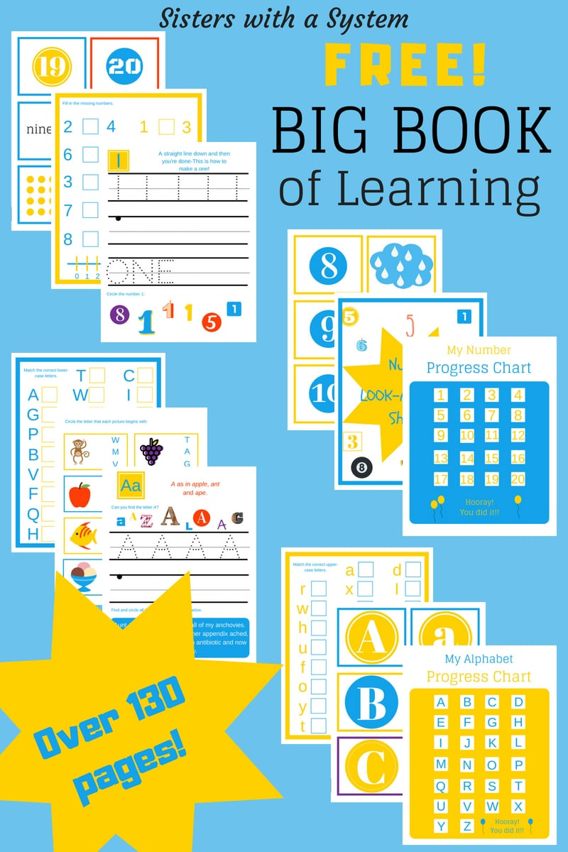 Free Big Book of Learning Pack for Preschool
