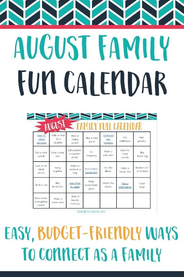 Free August Family Fun Calendar