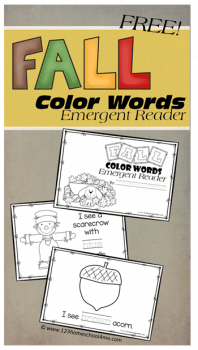 Celebrate Fall with this FREE Fall-Themed Resource: Fall Color Word Emergent Readers! #fhdhomeschoolers #freehomeschooldeals #hsfreebies #homeschoolers #fall
