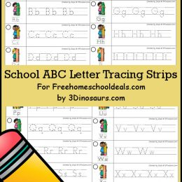 FREE SCHOOL THEMED LETTER TRACING STRIPS (Instant Download)