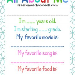 FREE ALL ABOUT ME PRINTABLE (Instant Download)