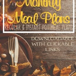 FREE November Monthly Meal Plans!