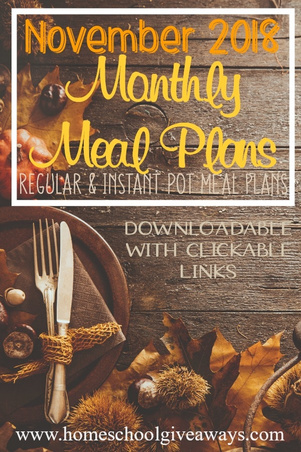 november monthly meal plans