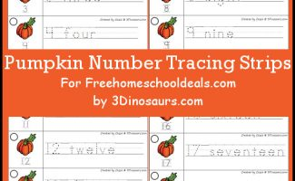 Download these FREE Pumpkin Number Tracing Strips for some counting fun! #fhdhomeschoolers #freehomeschooldeals #pumpkinmath #homeschoolmath #hsfreebies