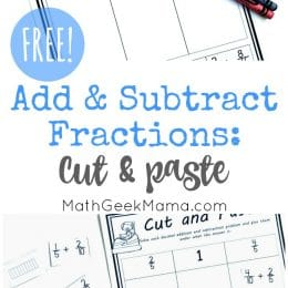 free add & subtract fractions cut-and-paste activity